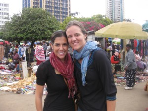 With Steph, shortly after my scarf purchase. Scarves of every color and ever design were available, yet I somehow managed to make a decision in only a few minutes. As I walked away, however, I realized I had chosen a scarf that was made Thailand, not Kenya.